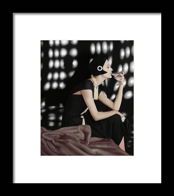 Fashion Framed Print featuring the photograph A Model Wearing A Branell Dress by Karen Radkai