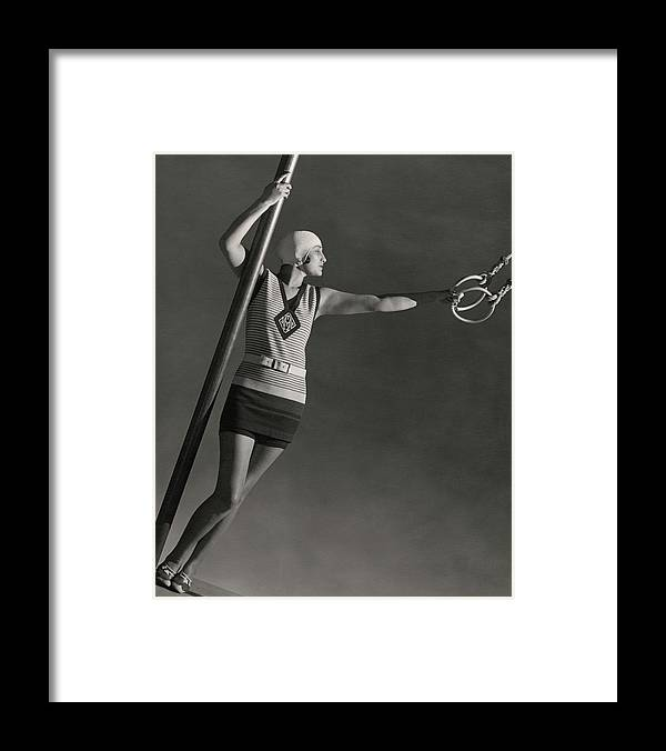 Accessories Framed Print featuring the photograph A Model Wearing A Jean Patou Bathing Suit by George Hoyningen-Huene