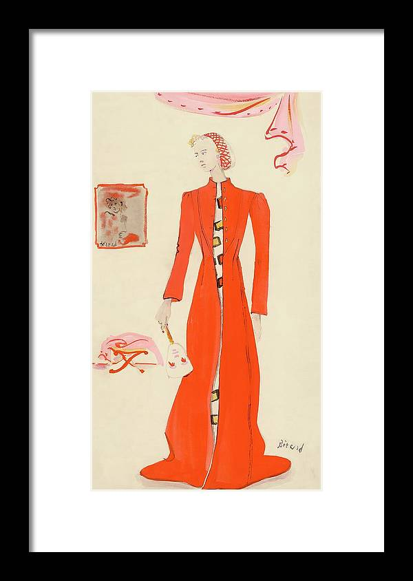 Fashion Framed Print featuring the digital art A Model Wearing A Schiaparelli Military Red Coat by Christian Berard