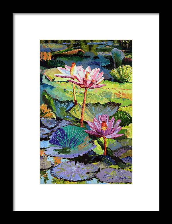 Water Lilies Framed Print featuring the painting A Moment In Sunlight by John Lautermilch