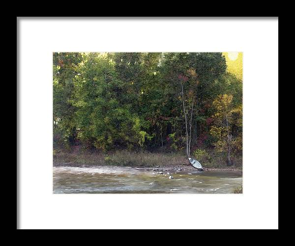 Landscapes Water River Painting Digital Art Woods Fall Color Canvas Print Trees Wisconsin Scenery Rocky Stream Nature Enviroment Autumn Canoe Fishing Boat Field And Stream Stoney Peaceful Solitude River Shore Tree Line Scenic Rushing Water Whitewater Wisconsin Scenery Framed Print featuring the painting A Moment Of Solitude by Michael Malicoat
