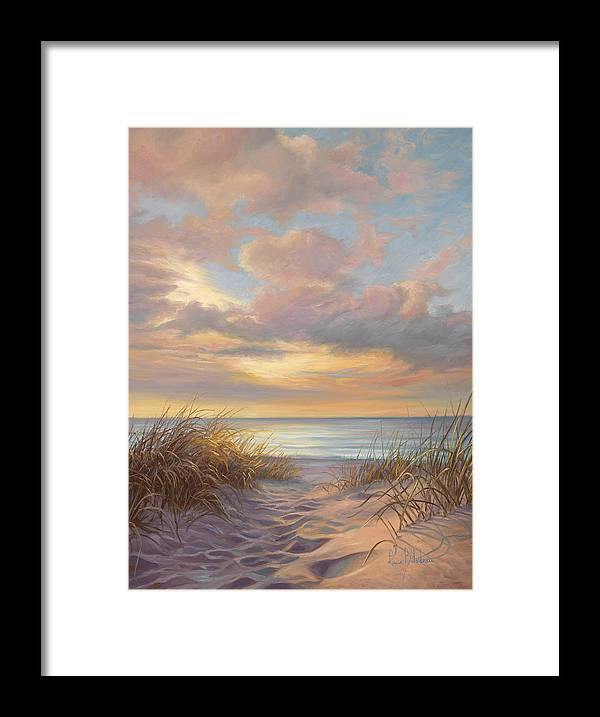 Beach Framed Print featuring the painting A Moment Of Tranquility by Lucie Bilodeau