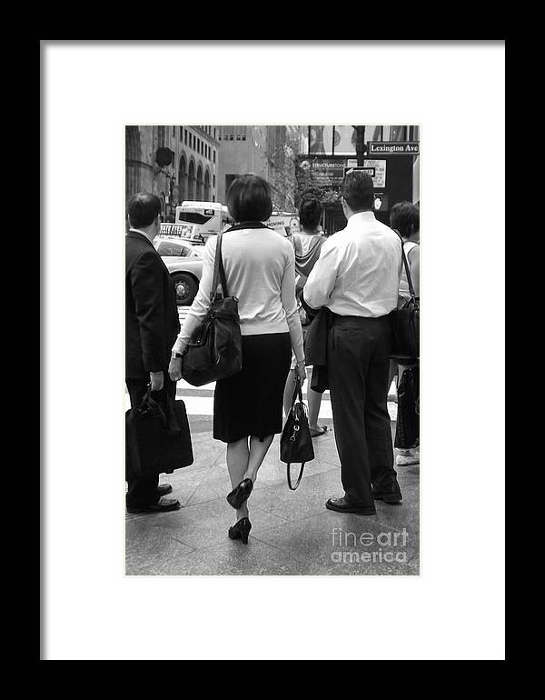 Girl Framed Print featuring the photograph A Moment's Pause - New York City Streets by Miriam Danar