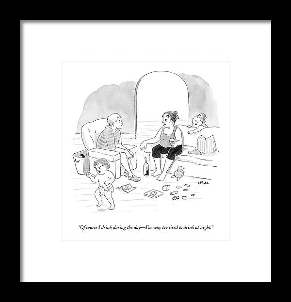Parenting Framed Print featuring the drawing A Mother Of A Toddler Drinks Wine And Talks by Emily Flake