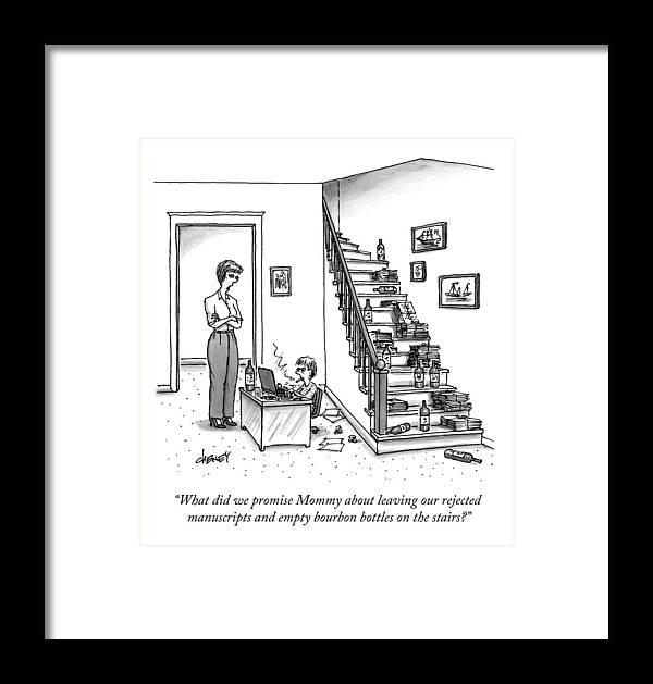 Writer Framed Print featuring the drawing A Mother Speaks To Her Son by Tom Cheney