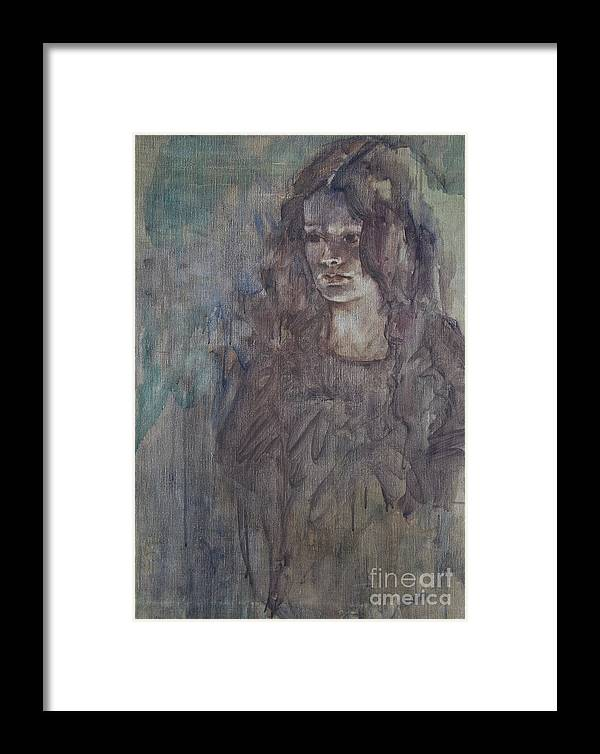 Woman Framed Print featuring the painting A Question Of Shadows by Avonelle Kelsey