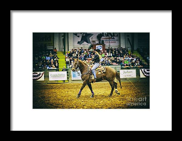 Night Framed Print featuring the photograph A Night At The Rodeo V17 by Douglas Barnard