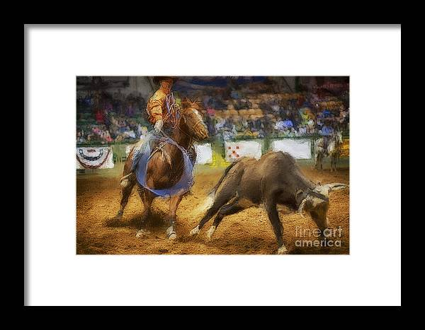 Night Framed Print featuring the photograph A Night At The Rodeo V18 by Douglas Barnard