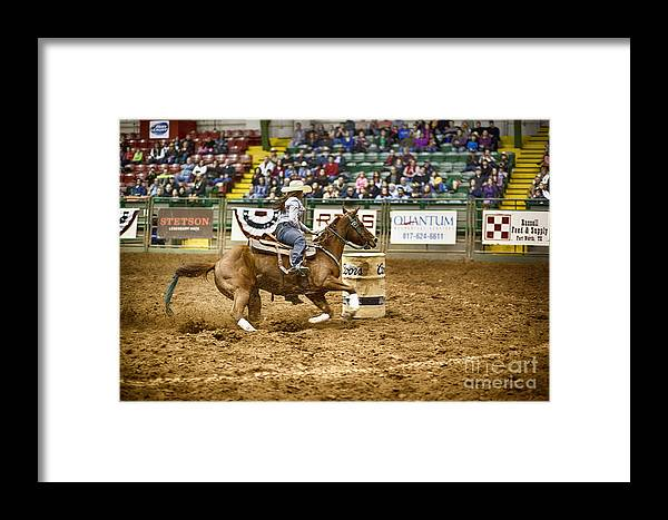Night Framed Print featuring the photograph A Night At The Rodeo V20 by Douglas Barnard