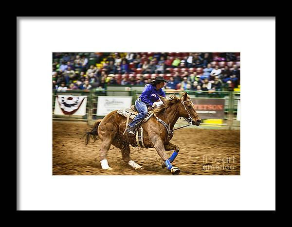 Night Framed Print featuring the photograph A Night At The Rodeo V30 by Douglas Barnard