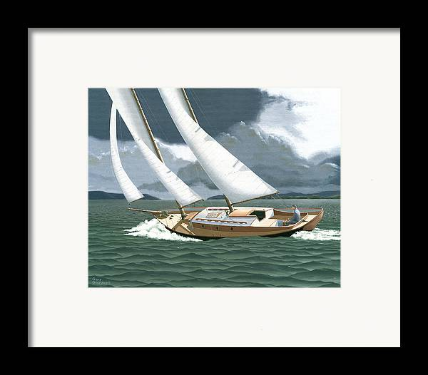 Gulf Islands Framed Print featuring the painting A Passing Squall by Gary Giacomelli
