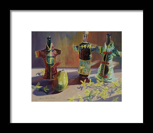 Oil Framed Print featuring the painting A Pear And Three Of A Kind by Karen Fess