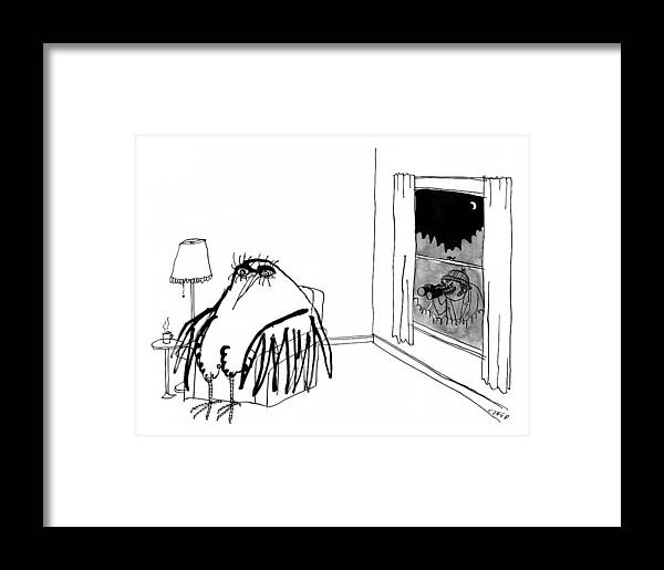 A Peeping Tom With Binoculars Looks Into A Big Framed Print by ...