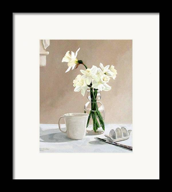 Daffodils Framed Print featuring the painting A Pint Of Daffodils by Sandra Chase