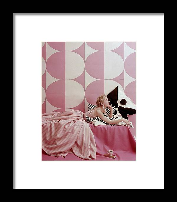 One Person Framed Print featuring the photograph A Portrait Of Lisa Fonssagrives Lying by Richard Rutledge
