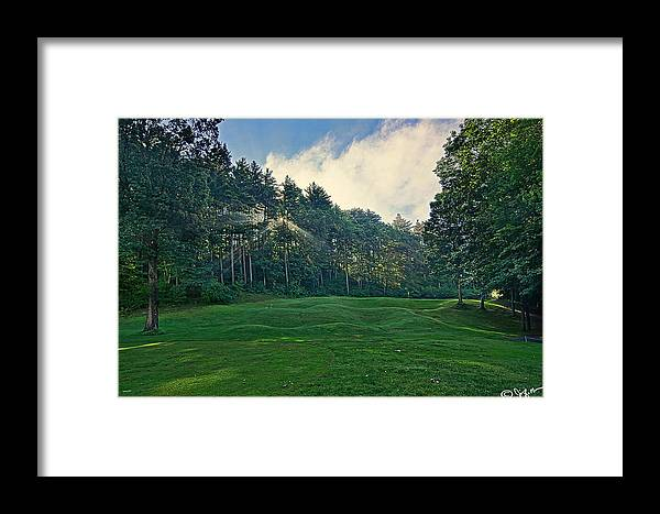 Golf Course Canvas Print Framed Print featuring the photograph A Ray Of Light On 18th by Jim LaMorder