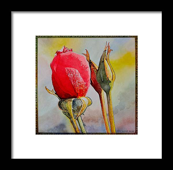 Rose Framed Print featuring the painting A Rose Awaitingtwo More Roses by Andre Salvador