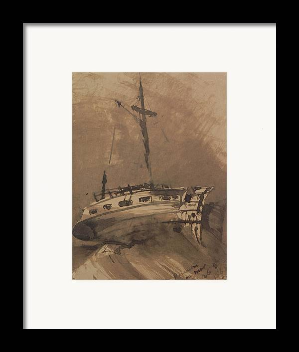 A Ship In Choppy Seas Framed Print featuring the painting A Ship In Choppy Seas by Victor Hugo