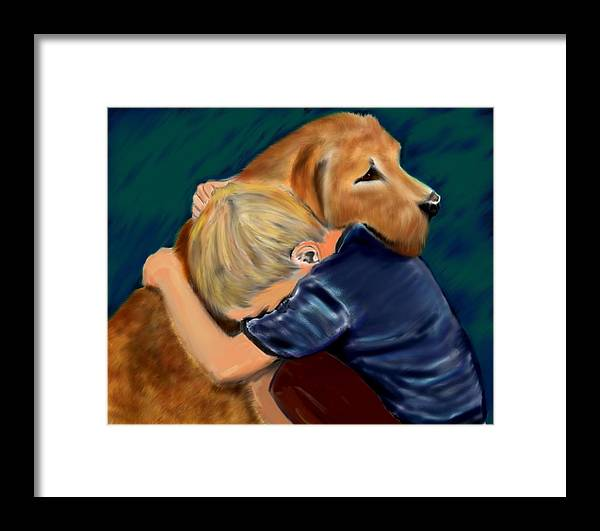Dog Framed Print featuring the painting A Shoulder To Cry On by Shere Crossman