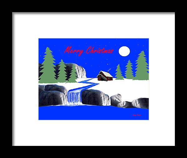 Greeting Card Framed Print featuring the painting A Simple Christmas by Leroy Drumm