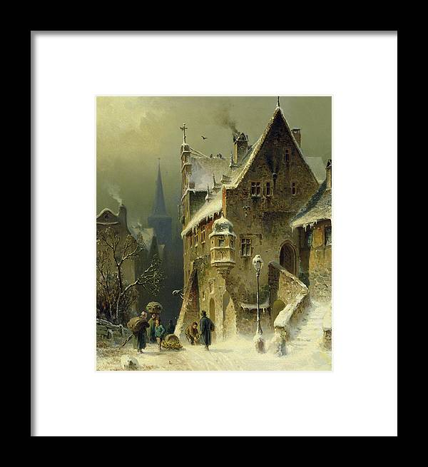 Schlieker Framed Print featuring the painting A Small Town In The Rhine by August Schlieker