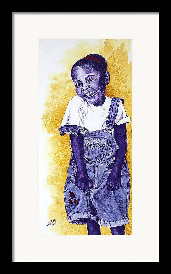 Orphan Framed Print featuring the painting A Smile For You From Haiti by Margaret Bobb