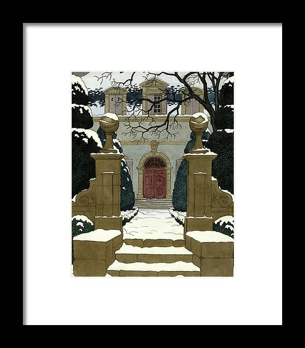 Exterior Framed Print featuring the digital art A Snow Covered Pathway Leading To A Mansion by Pierre Brissaud