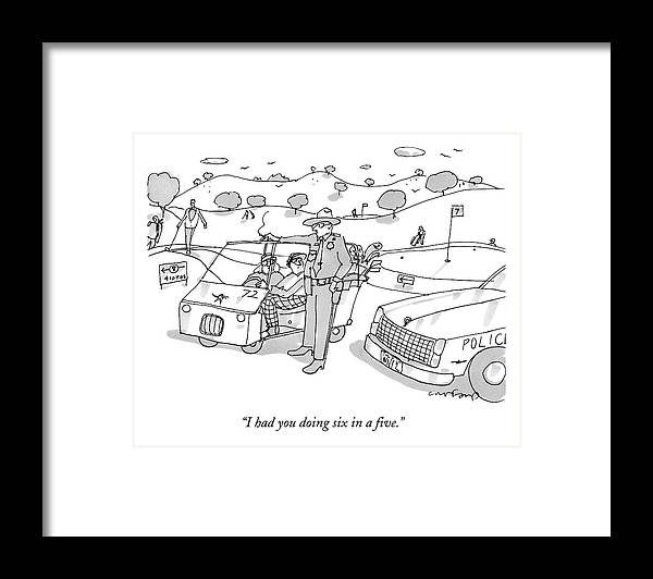 A State Trooper Stops A Golf Cart On A Golf Framed Print by Michael ...