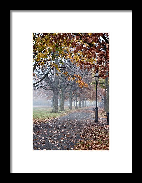 Salem Framed Print featuring the photograph A Stroll In Salem Fog by Jeff Folger