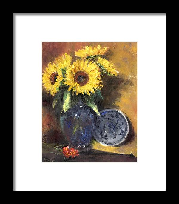 A Still Life Painting Of Sunflowers In A Dark Blue Vase Framed Print featuring the painting A Sunflower Smile by Terri Meyer