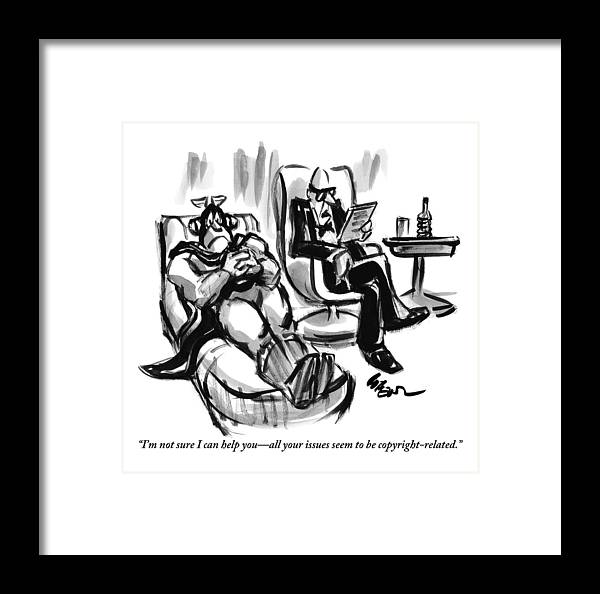 Superheroes Framed Print featuring the drawing A Superhero Lays In A Chair Talking by Lee Lorenz