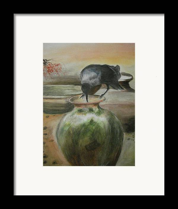 Water Jars Framed Print featuring the painting A Thirsty Crow by Prasenjit Dhar