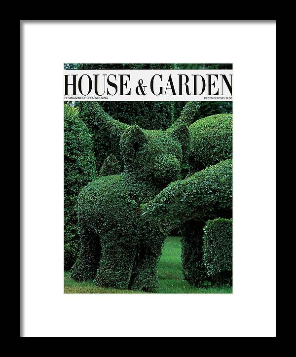 Animal Framed Print featuring the photograph A Topiary Bear In Alice Braytons Green Animals by Horst P. Horst