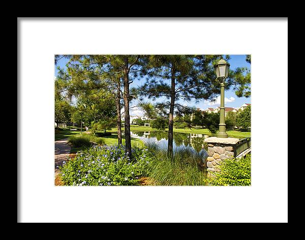 Pond Framed Print featuring the photograph A Tranquil Pond At Walt Disney World by Thomas Woolworth