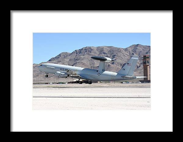 Nellis Air Force Base Framed Print featuring the photograph A U.s. Air Force E-3a Sentry Taking by Riccardo Niccoli