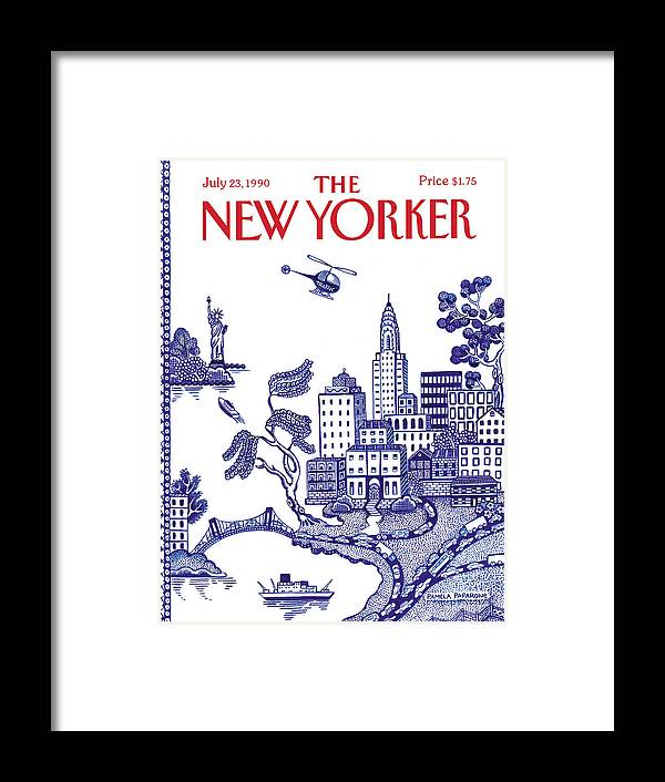 New York City Framed Print featuring the painting New Yorker July 23, 1990 by Pamela Paparone