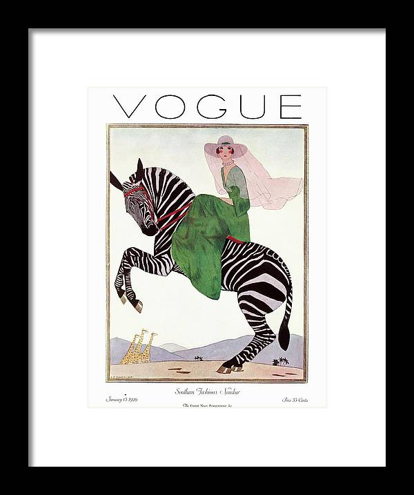 Illustration Framed Print featuring the photograph A Vintage Vogue Magazine Cover Of A Woman by Andre E. Marty