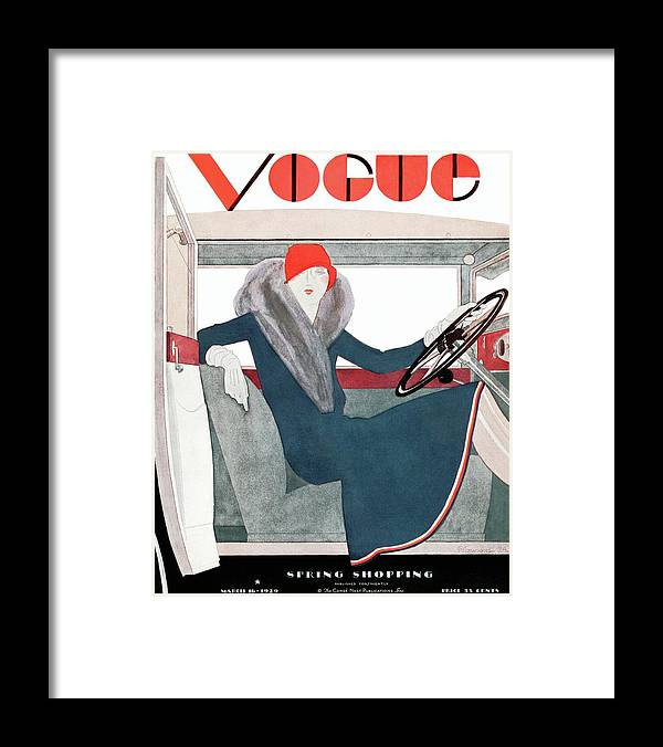 Illustration Framed Print featuring the photograph A Vintage Vogue Magazine Cover Of A Woman by Pierre Mourgue