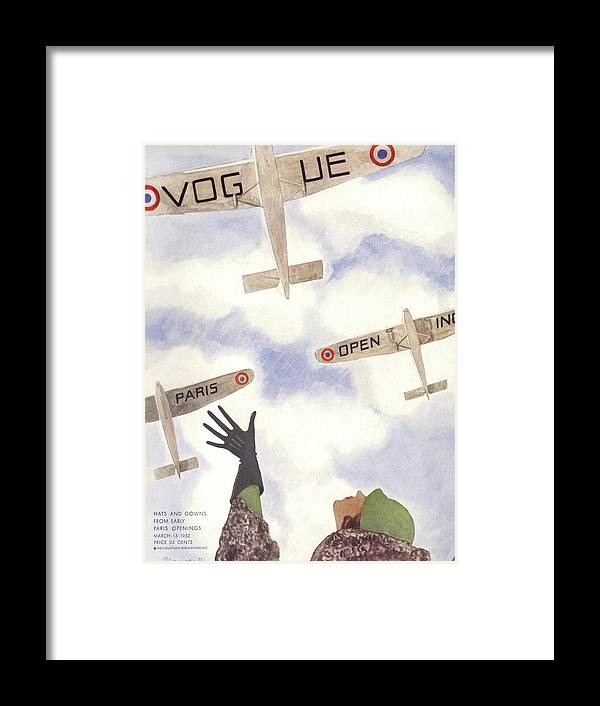 Illustration Framed Print featuring the photograph A Vogue Cover Of A Woman Waving To Planes by Pierre Mourgue