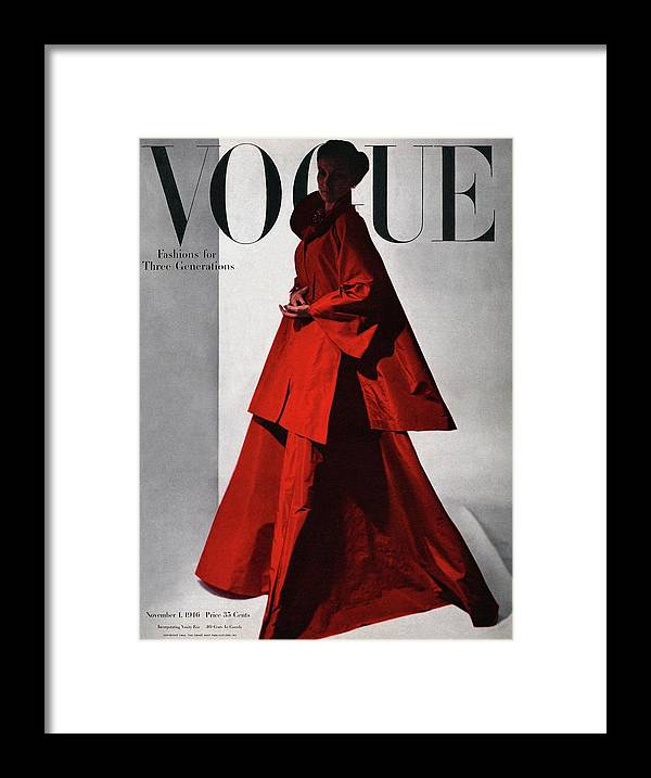 Fashion Framed Print featuring the photograph A Vogue Cover Of A Woman Wearing A Red by Horst P. Horst