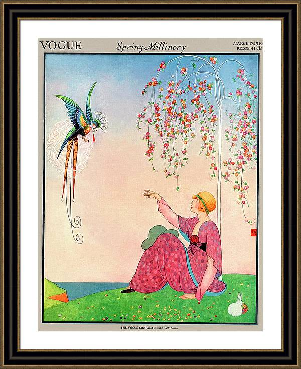 A Vogue Cover Of A Woman With A Bird by George Wolfe Plank