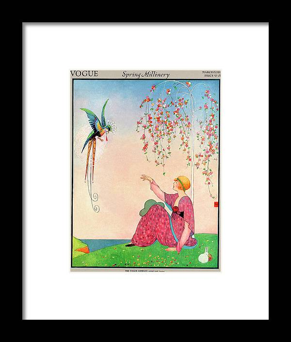 Illustration Framed Print featuring the photograph A Vogue Cover Of A Woman With A Bird by George Wolfe Plank