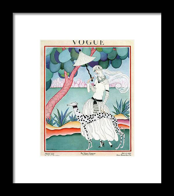 Illustration Framed Print featuring the photograph A Vogue Cover Of A Woman With A Dalmatian by Helen Dryden