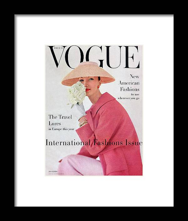 Fashion Framed Print featuring the photograph A Vogue Cover Of Evelyn Tripp Wearing Pink by Karen Radkai