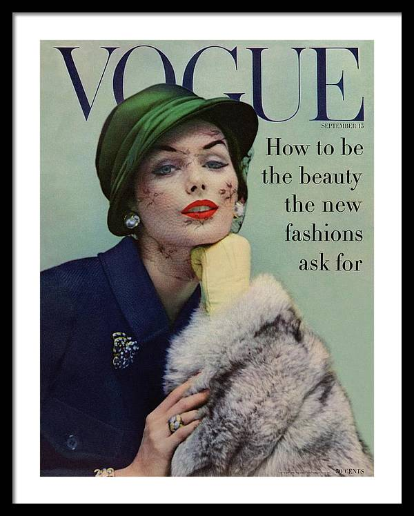 A Vogue Cover Of Lucinda Hollingsworth With A Fur by Karen Radkai