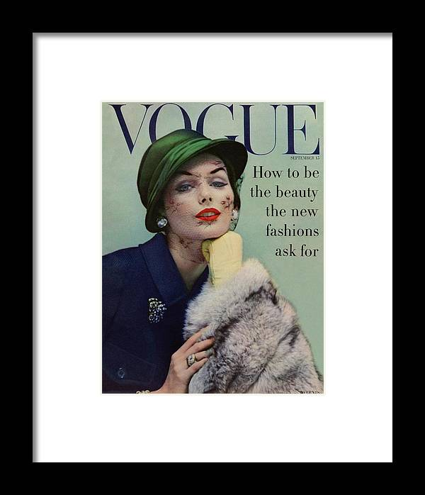 Fashion Framed Print featuring the photograph A Vogue Cover Of Lucinda Hollingsworth With A Fur by Karen Radkai