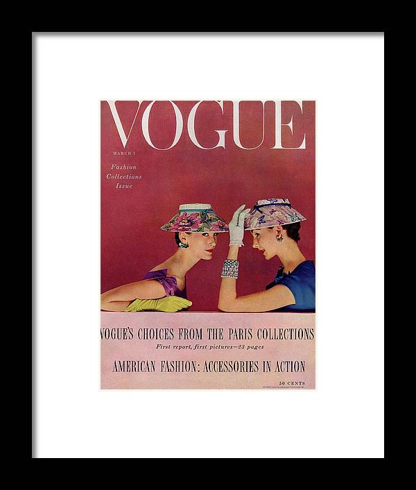 Fashion Framed Print featuring the photograph A Vogue Cover Of Models Wearing Lilly Dache Hats by Richard Rutledge