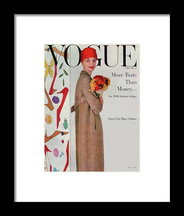 Fashion Framed Print featuring the photograph A Vogue Cover Of Sunny Harnett With Flowers by Karen Radkai