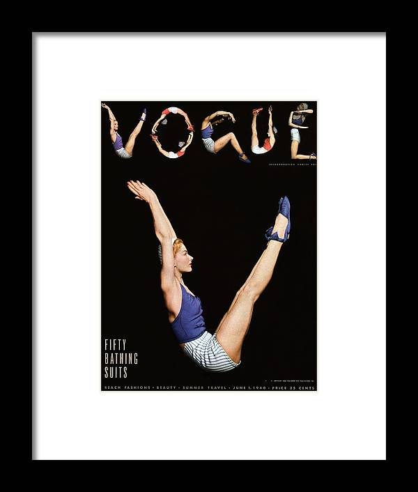 One Person Framed Print featuring the photograph A Vogue Magazine Cover Of Lisa Fonssagrives by Horst P Horst