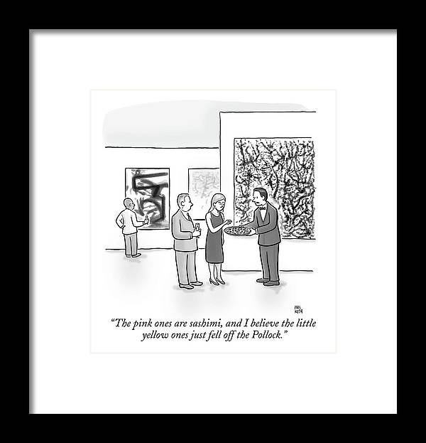 Art Galleries Framed Print featuring the drawing A Waiter Is Seen Speaking With A Woman In An Art by Paul Noth